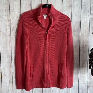 l.l. bean cable knit sweater zip up jacket